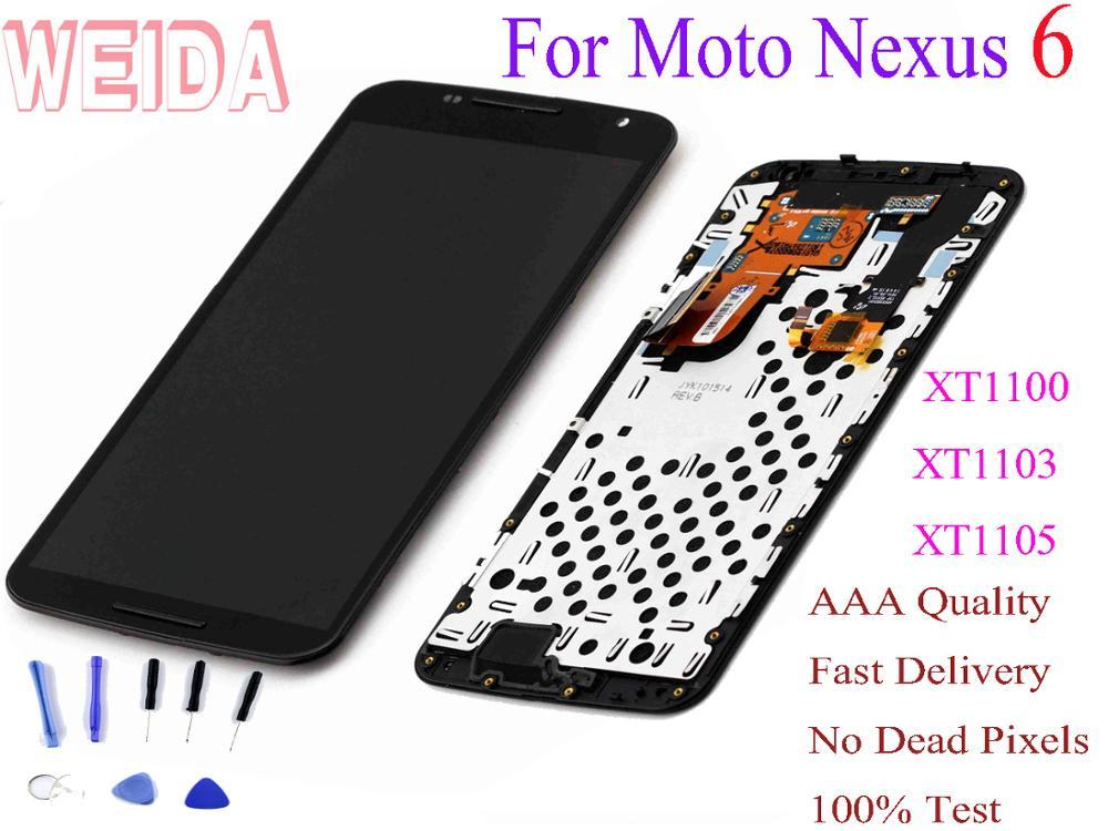 Écran LCD WEIDA Amoled pour Moto Nexus 6 XT1100 XT1103 XT1105 cadre d'assemblage d'écran tactile 5.96