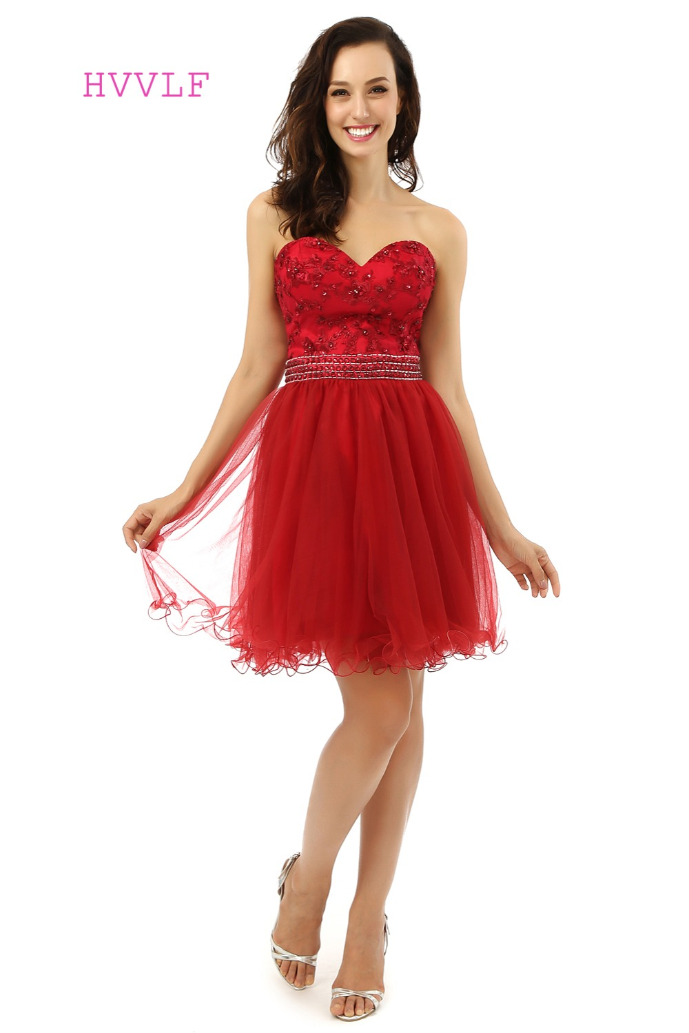 Red Homecoming Dresses A-line Sweetheart Beaded Appliques Lace Short Mini Sparkly Cocktail Dresses 2019