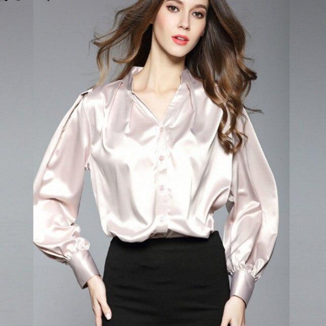 Satin Silk Blouses Shirts