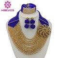 Royal Blue Beads Africanos Joyería Conjunto Chapado En Oro de Joyería Set 10 Capas Granos Cristalinos de La Joyería Nigeriano Boda Joyería AJS695