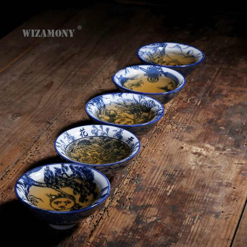 WIZAMONY Drinkware jingdezhen Bue and White Chinese Porcelain Tea Bowl Teacup Tea Set Ceramic Atique Glaze Kung Fu Master Cup