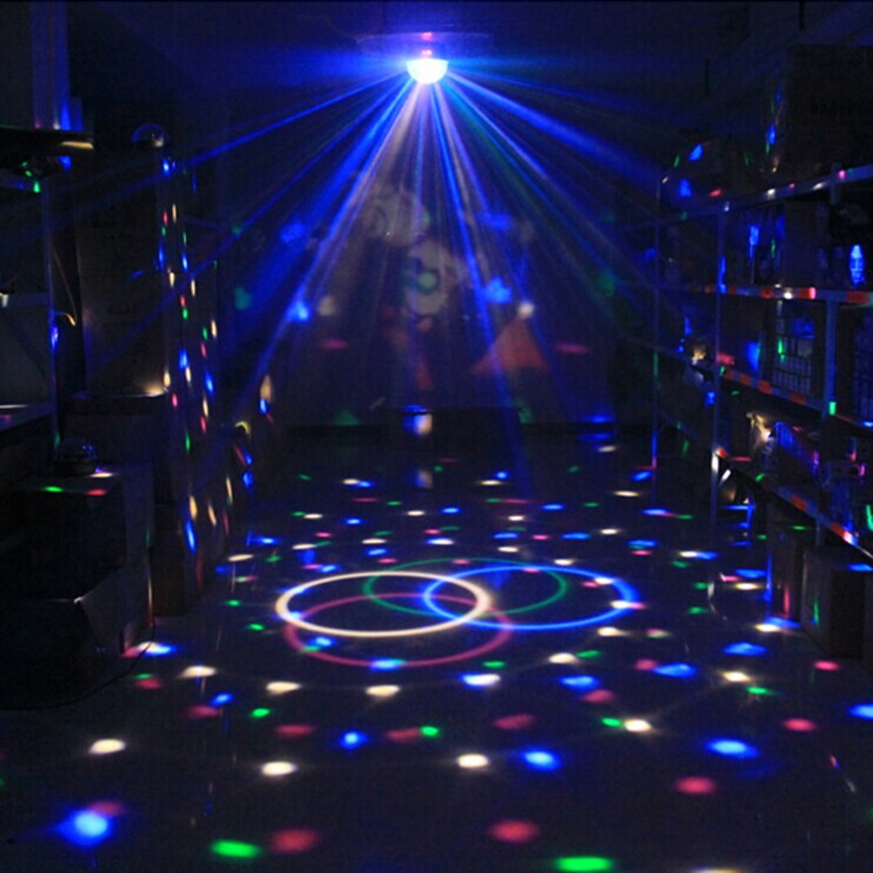 Image 4 - Sound Activated Rotating Disco Ball DJ Party Lights 3W 3LED RGB LED Stage Lights For Christmas Wedding sound party lights-in Stage Lighting Effect from Lights & Lighting on