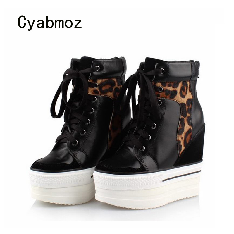 Cyabmoz Leopard Genuine Leather Women Shoes Woman High Heels Platform Wedge Ladies Shoes Zapatillas Zapatos Mujer Tenis Feminino цена и фото