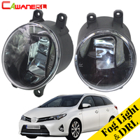 Cawanerl 2 Pieces Car Accessories LED Lamp Fog Light DRL Daytime Running Light White H11 Socket 12V For Toyota Auris 2012 2018