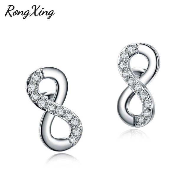 Rongxing Unique 8 Shape Infinity Stud Earrings For Women White Gold Filled Zircon Birthstone Wedding