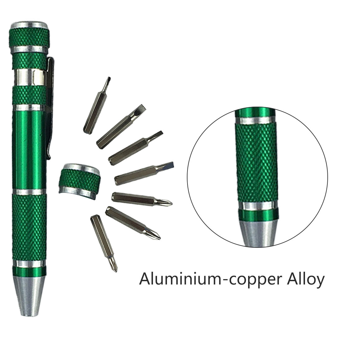 <font><b>Screwdriver</b></font> Set <font><b>8</b></font> <font><b>In</b></font> <font><b>1</b></font> Mini Aluminum Precision Pen Screw Driver Repair Tools Kit for Phone/Computer/Watch Hand Tool Set image