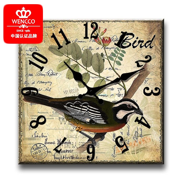 16 Inches 40cm Wood Wall Clock Square Digital Wall Clock Modern Design Large Wall Clock Vintage The Old Style Clock