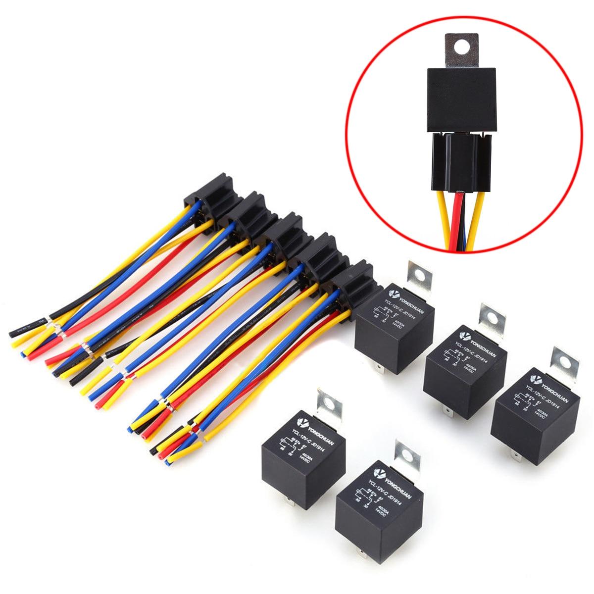hight resolution of 5 set new 12v car relay 12 volt dc 40a relay socket spdt 5 pin