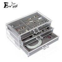 Caixa de gaveta da penteadeira com caixão de Jóias Colar/brinco/anel de acabamento caixa com bandeja de Exibição organizador de jóias de Veludo