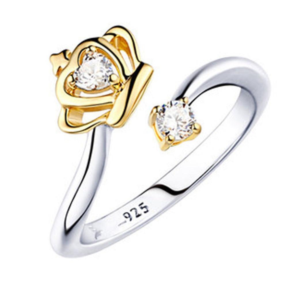 1 Stücke Neue Design Einstellbare Silber Überzogen Prinzessin Crown Zirkon Ring Einzelhandel Hohe Qualität Tropfen Verschiffen Moderate Kosten