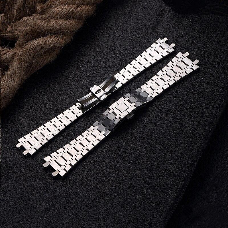 MERJUST AAA qualité 316L 26mm argent hommes plein Bracelet de montre Bracelet en acier inoxydable pour AP Bracelet en chêne ROYAL avec gravure