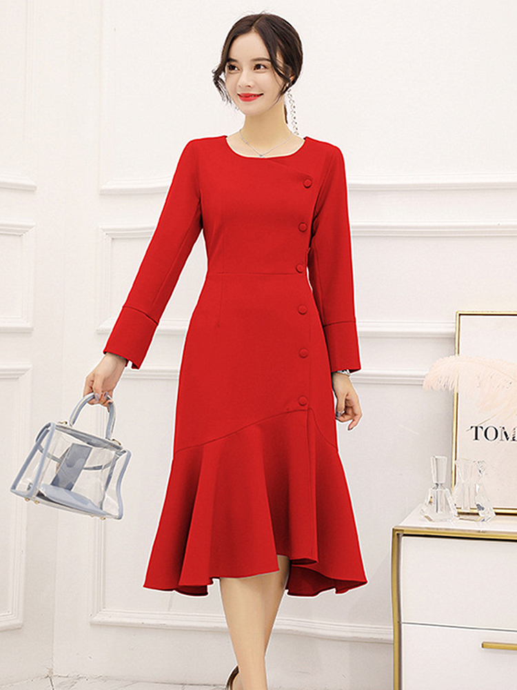 2019 Spring New Fashion Slim High Waist Long Sleeve Dress Comfortable Round Neck  fishtail Pendulum Solid Color Women's Clothing