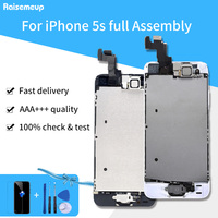 High Quality Full Set LCD Display For iPhone 5S LCD Touch Screen Home button+Front camera+Tools parts Replacement Assembly+2gift