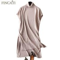 Autumn Winter Dress 2018 England Style High Grade 100 Pure Cashmere Fluffy Turtleneck Knee Length Split