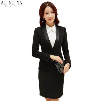 Women Skirt Suits Autumn Winter Professional Business Work Suits With 2 Pieces Jackets + Skirt Female Office Solid Suits Blazers