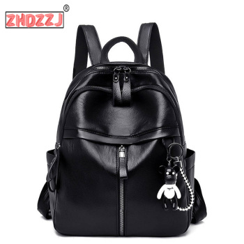 On sale Soft leather sense 2019 New Korean fashion shoulder bag fashion college wind large capacity student mommy backpack luodun 2018 new backpack female shoulder bag leather fashion korean wave simple bag college wind mini bag ladies bag