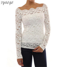 off shoulder Sexy Lace Blouse Shirts Women Flower Hollow Out Slash Neck Autumn Long Sleeve Casual Female Women's Shirts 2017 Top