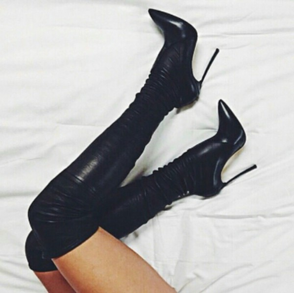 Ladies Top Brand Black PU Suede Pointed Toe Long Boots Over-the-knee Thin Metal Heels Thigh High Boots Slim Fit Bange Boots sexy black suede pointed toe slim fit long boots classy women unique design metal branch thin high heel over the knee boots
