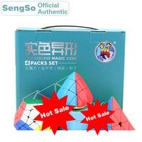 ShengShou Irregular Magic Cube Gift Pack 4 sets / pcs Pyraminxeds Megaminxeds Mastermorphix Mirror Speed Cube Puzzle Antistress
