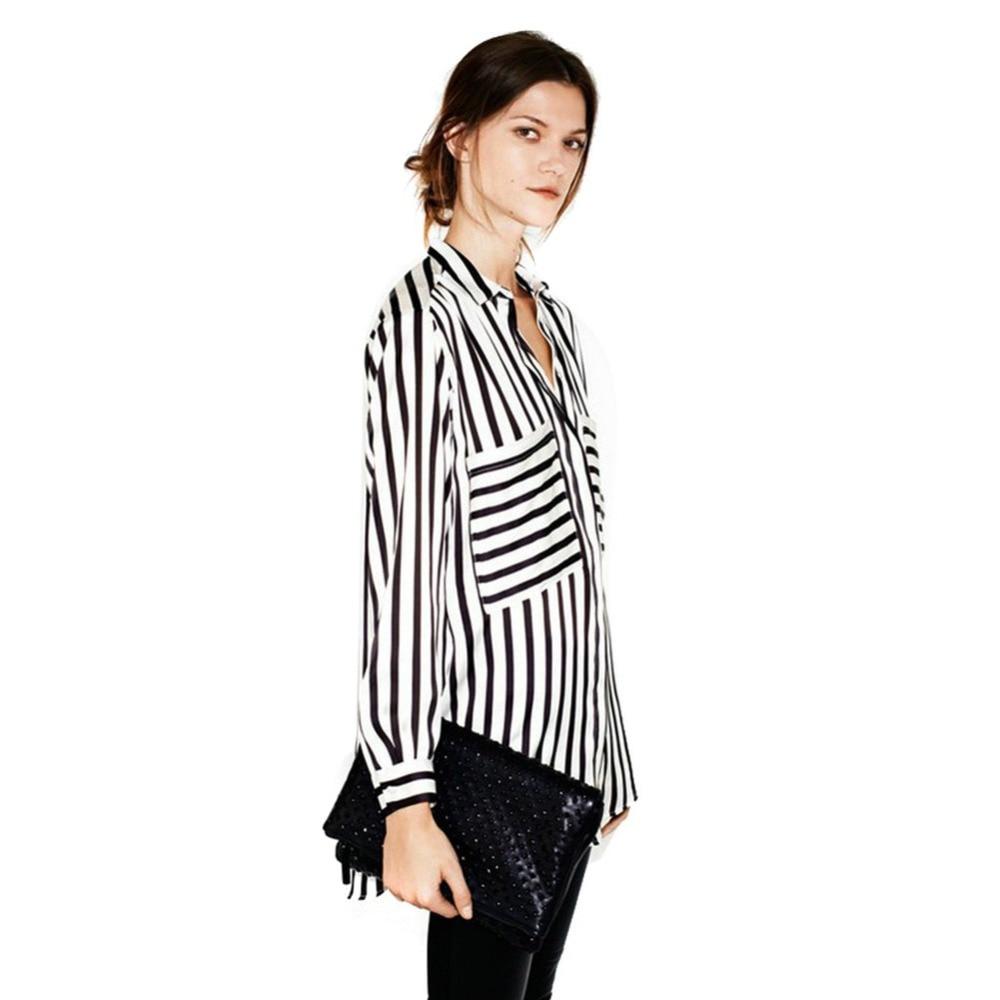 ZALA Rainbows Store New Summer Formal blouses Long Sleeve Button Down Women's Shirt Vertical Striped Chiffon Pocket Career Tops 7644