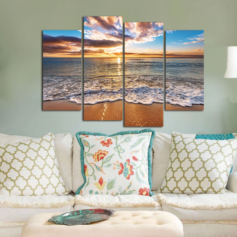 4 pieces Modular Pictures Modern Seascape Painting Canvas Art HD Sea - Home Decor - Photo 1