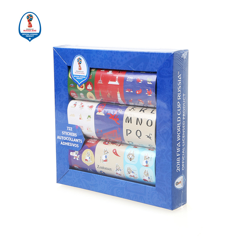 Russia Soccer Cup Sticker Paper Box 63*15 CM 9 Styles Sticker Souvenirs for Soccer Tournament Fan 2018 New Arrival Top Quality