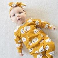 Newborn Bodysuit Set Baby Kids Girls Clothes Jumpsuit Romper Headband Outfits 2pcs Set