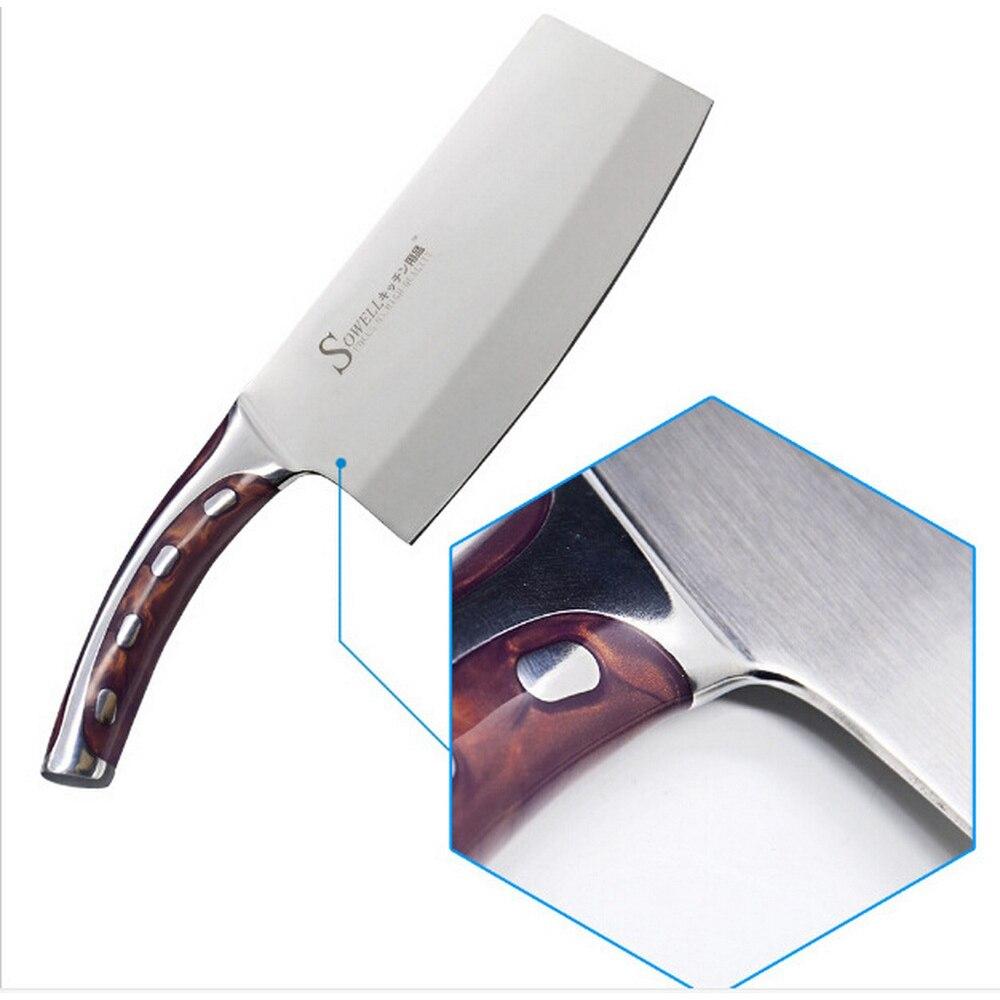 Кухонные ножи из нержавеющей стали, 7 дюймов, разделочный кухонный нож шеф-повара, смоляные волокна, ручка, Кливер, кухонные принадлежности