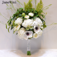 JaneVini Romantic Boho Wedding Bouquet White Bridal Flowers Green Leaves Artificial Silk Rose for Bridesmaid Wedding Accessories