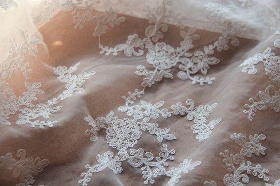 lacequeen ivory Embroidered Organza Lace Fabric, bridal lace fabric