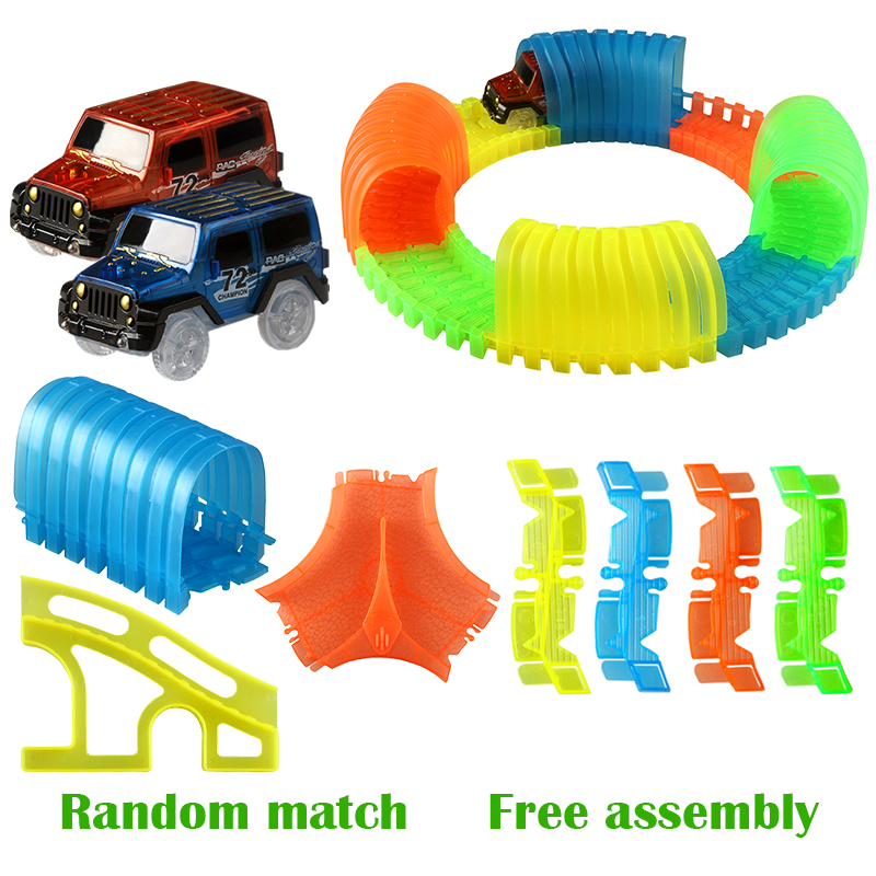 Glowing Track cars intersection / bridge /Tunnel for boys factory racing track assembly free combination of childrens toy