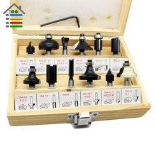 Free shipping New 12pcs 1/4″ Wood Router Bit Set Tungston Carbide Rotary Tool Wood Woodworking Drilling Drill Bits