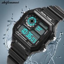 Мужские часы в деловом стиле водонепроницаемые повседневные часы спортивные часы светодиодные цифровые наручные часы с двойным временем на открытом воздухе многофункциональные часы