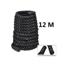 12M Dacron Material Heavy Black 2 Dia.Undulation Battling Rope Physical Body Strength Training Sport Fitness Exercise Workout