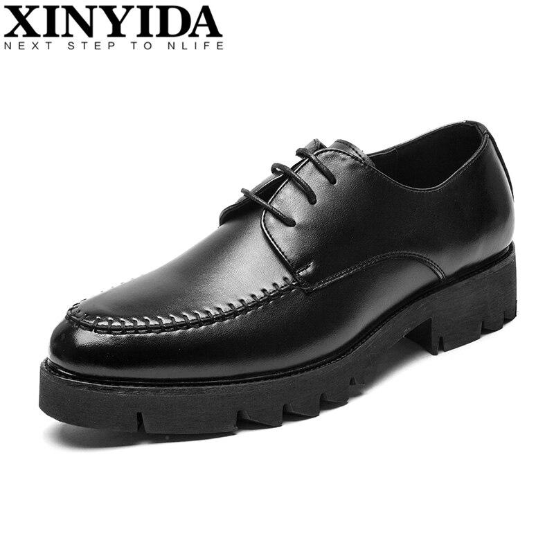 Homens Moda Couro Clássico Britânico De Black 44 38 Respirável Up Negócios Casuais Tamanho Dos Fundo Grosso Vestem Lace Se Sapatos wO1Yzx