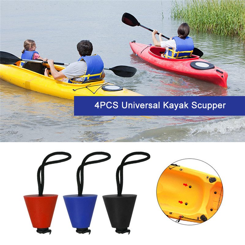4PCS Best Universal Kayak Scupper Plug Kit Kayak Scupper Plug Kit Canoe Drain Holes Stopper Bung Accessories