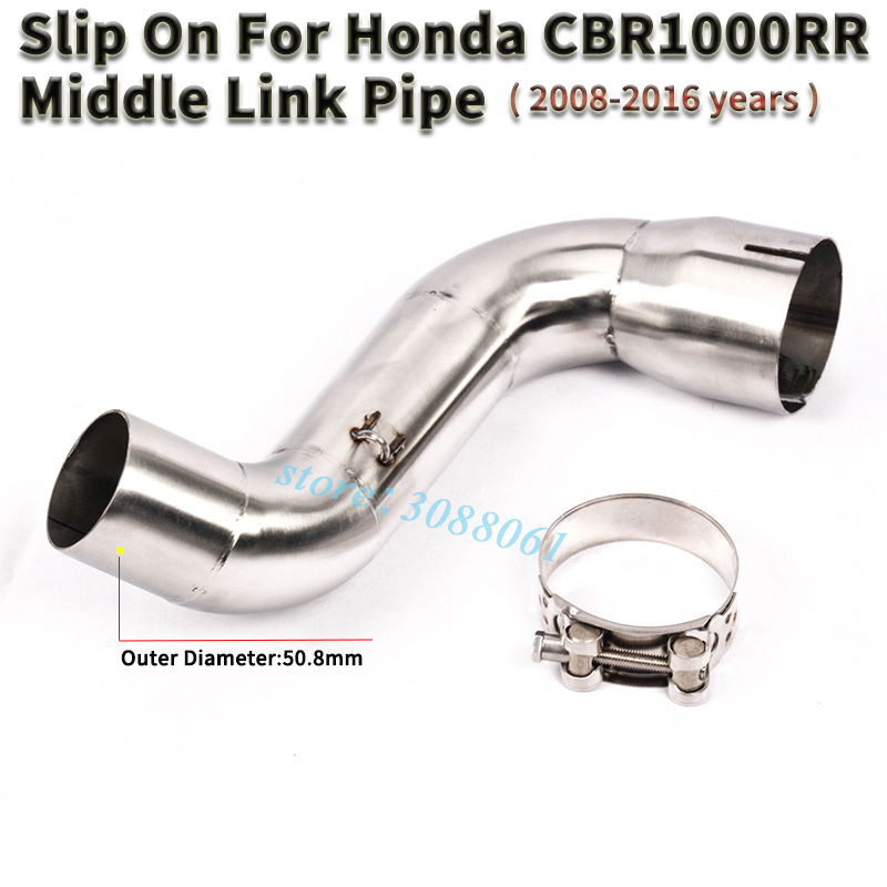 Motorcycle <font><b>Exhaust</b></font> Escape Slip on For Honda <font><b>CBR1000RR</b></font> <font><b>2008</b></font> - 2016 Modified Motorbike Stainless Middle Link Pipe Without Muffler image