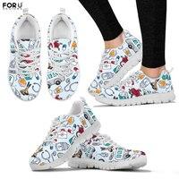 FORUDESIGNS Women Sneakers Cartoon Ambulance Pattern Nurse Flats Shoes Casual Ladies Sneakers Breathable Girls Walking Shoes