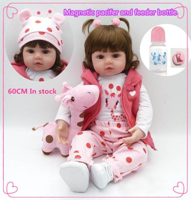 Mais recente novo 58 cm/45 cm Silicone Realista Boneca Reborn Baby Dolls Para Crianças Princesa presente de aniversário de Moda com mãos abertas
