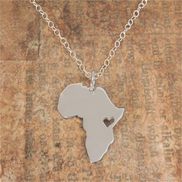 30PCS Contorno Africa Mappa Collana Con Cuore Paese del Sud Africano Mappa Collana Etiopia Ciondolo Africa Collane