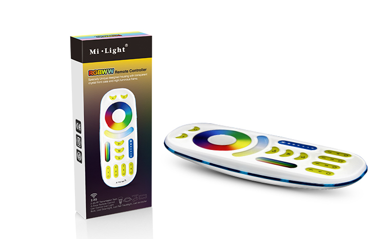 2.4GHz <font><b>FUT092</b></font> 4 Zone RGB+CCT Remote controller 2 in 1 Full touch 4-zone group control for Milight RGB+CCT led bulb series image