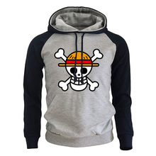 Print Hoodie Sweatshirts Pullover Anime One-Piece Luffy Winter Men Cartoon Autumn Harajuke