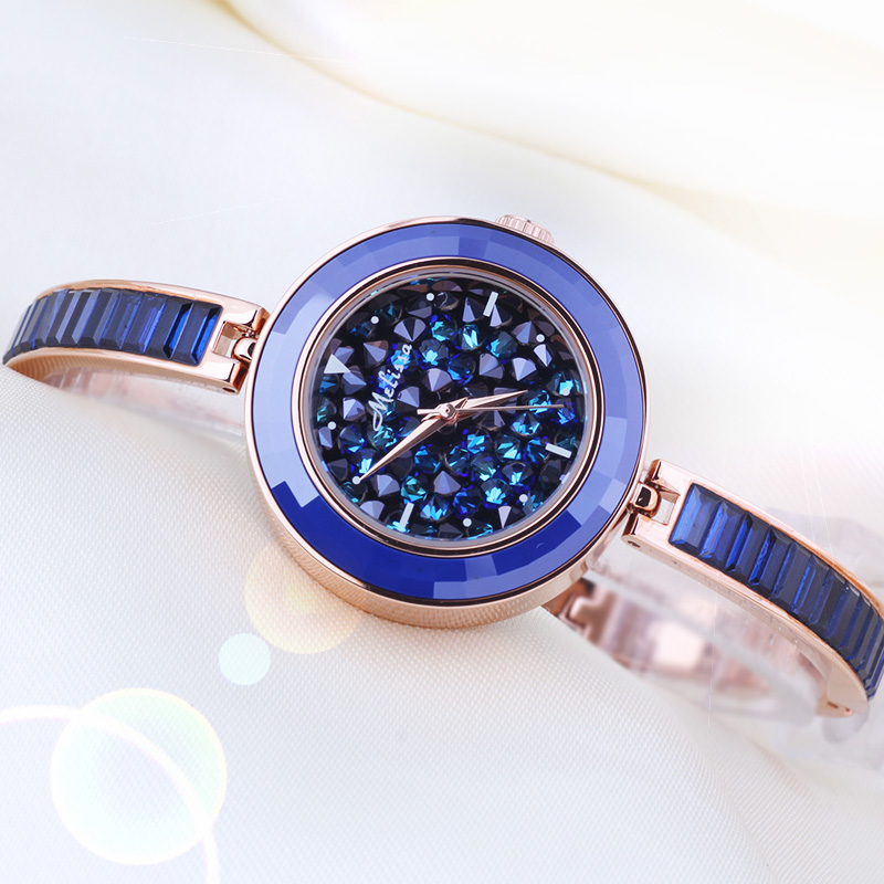 Full Crystal Melissa Lady Women's Watch Japan Quartz Hours Fine Fashion Bracelet Luxury Rhinestones Clock Girl Birthday Gift fashion modern silver crystal flower quartz pocket watch necklace pendant women lady girl birthday gift relogio de bolso antigo