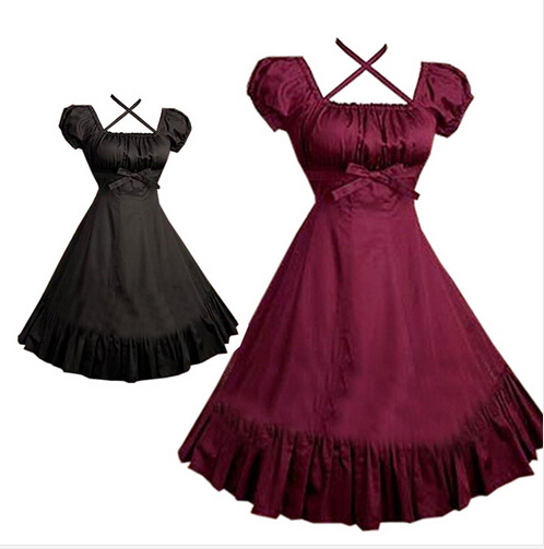 A8 belle robe gothique Lolita robe chemise à manches courtes pour les femmes Cosplay Costumes rétro robes personnalisées