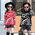 Invierno Suéter de Punto Prendas de Punto Chicas Zebra Rayas Suéteres de Punto Para Niñas Ropa para Niños Otoño Invierno Ropa Borlas