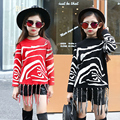 Winter Knitted Sweater Girls Knitwear Zebra Stripes Knitted Sweaters For Girls Children Clothing Autumn Winter Tassels Clothes