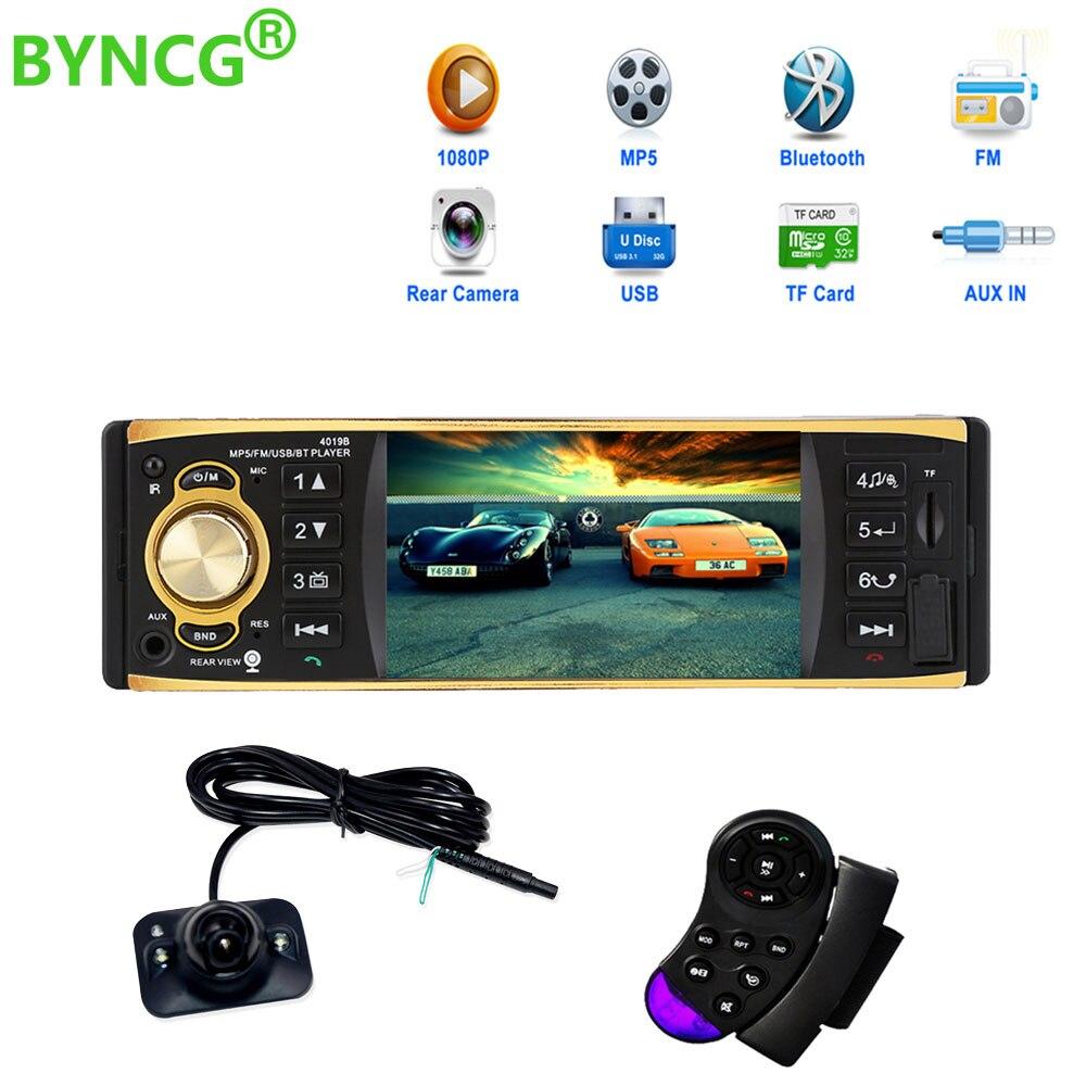 Vente chaude 4019B 4.1 pouce 1 Un Din Voiture Radio Audio Stéréo USB AUX FM Radio Station Bluetooth avec Rétroviseur caméra Télécommande