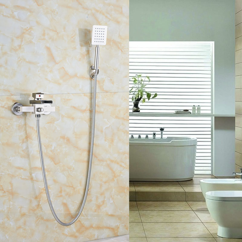Modern Bathroom Tub Shower Faucet Wall Mount Brushed Nickle Shower Tap Single Lever Mixer Faucet china sanitary ware chrome wall mount thermostatic water tap water saver thermostatic shower faucet