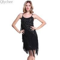 XXL Vintage Black Lace Sequin Tassels Dress Bodycon Gatsby Dress Costume Casual Fashion Women Off Shoulder