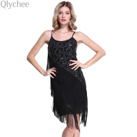 XXL Vintage Black Lace Sequin Tassels Dress Bodycon Gatsby Dress Costume Casual Fashion Women Off Shoulder